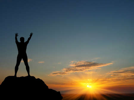 man on top of the mountain reaches for the sun Stock Photo - 10343572