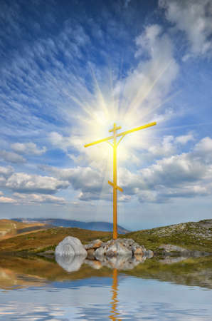 Christian cross on a mountaintop. mountain landscape photo