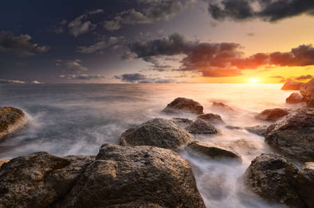 ocean storm: Rocks and sea. Dramatic scene. Composition of nature.