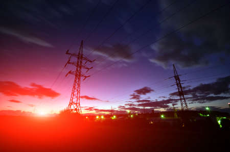 powerplant: High voltage electric line in sunset