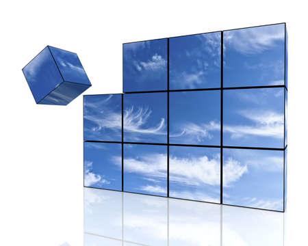 the sky is composed of three-dimensional cubes photo