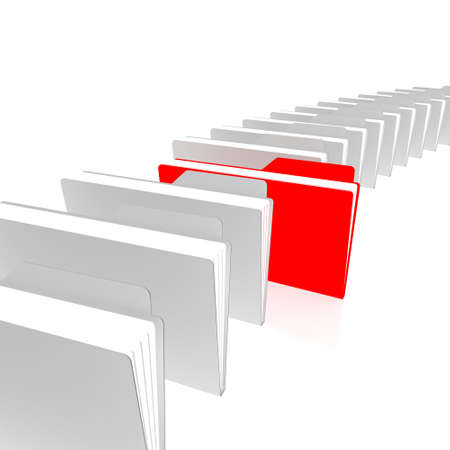 One red and white folders are in a series Stock Photo - 11260563