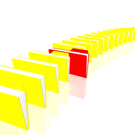 One red and yellow folders are in a series Stock Photo - 11260562