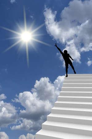 subiendo escaleras: hombre en la cima Foto de archivo