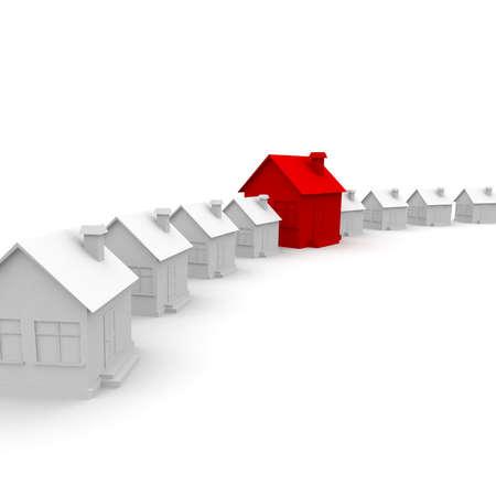 Dream Home: Wei�e Haus entlang der Linie stehen, und in der Mitte des Hauses roten befindet. 3D-Computer-Modellierung