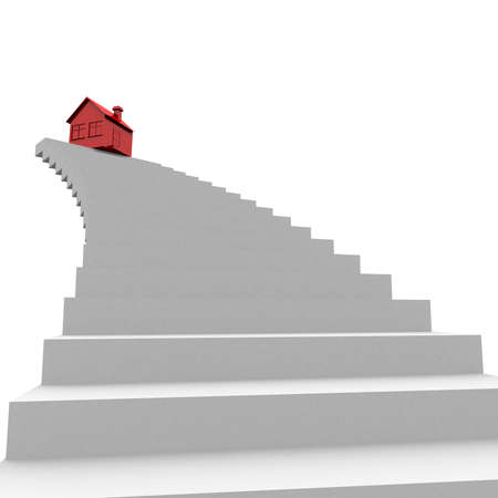 red house on top of the stairs. computer generation photo