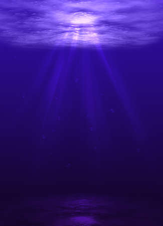 abyss: the ocean floor with bubbles of air and bright sunlight