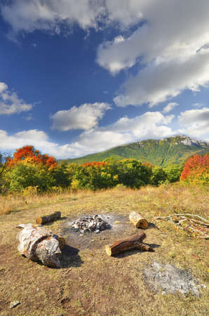 lofty: mountain landscape and woodland. natural composition Stock Photo