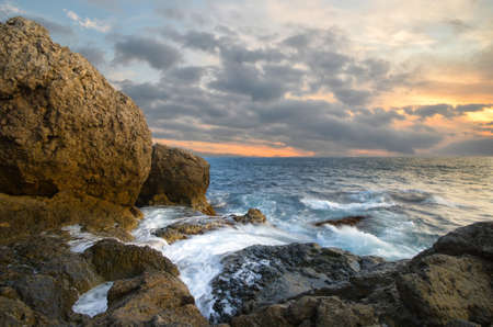 storm sea: Rocks and sea. Dramatic scene. Composition of nature.
