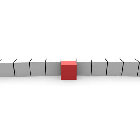 red cube: number of white cubes, one red. computer Simulation Stock Photo