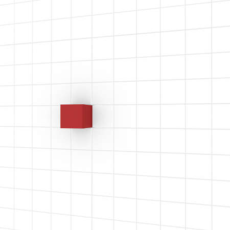 computer simulation: series of white cubes, one red. computer Simulation
