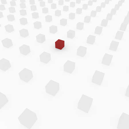 series of white cubes, one red. computer Simulation photo