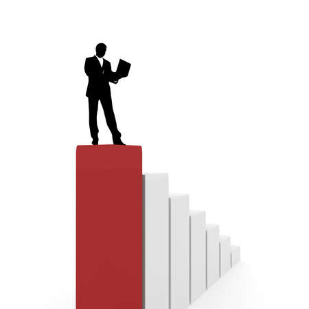 silhouette of a businessman with a laptop in hand on the top of the column in red. computer Simulation photo