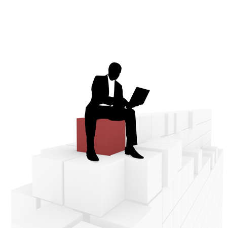 computer simulation: silhouette of a businessman with a laptop in hand on top of a pyramid of white cubes, one red. computer Simulation