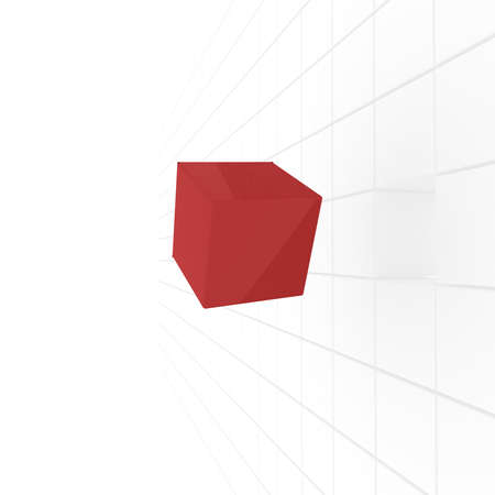 computer simulation: series of white cubes, one of which is red in a chaotic manner. computer Simulation
