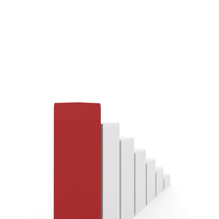computer simulation: rectangular white pillars arranged in ascending order, one of which is red. computer Simulation Stock Photo