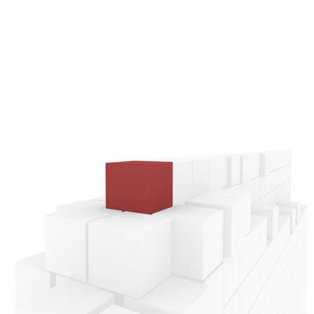 first form: pyramid of white cubes, one red. computer Simulation