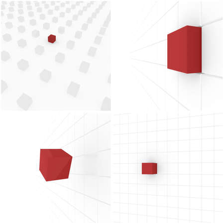 computer simulation: series of white cubes, one red  computer Simulation Stock Photo