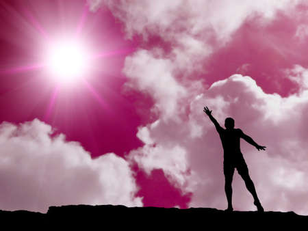 silhouette of a man at the top of the mountain against the sky Stock Photo - 11907089