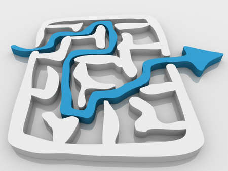 difficult journey: the way an arrow is laid on the labyrinth Stock Photo