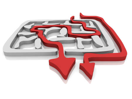 puzzling: the way an arrow is laid on the labyrinth Stock Photo