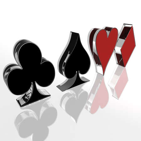 four card suit on a white background. computer generation photo