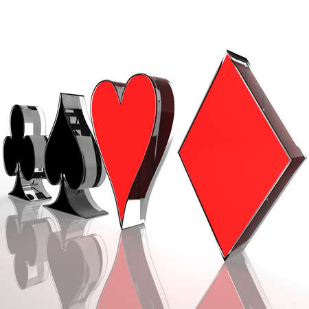 card game: four card suit on a white background. computer generation Stock Photo