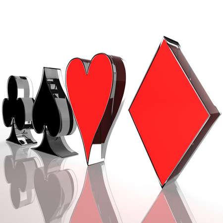 jeu de carte: quatre carte couleur sur un fond blanc. génération d'ordinateurs Banque d'images