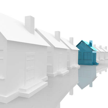 White House stand along the line, and is located in the center of the house blue. computer modeling Stockfoto