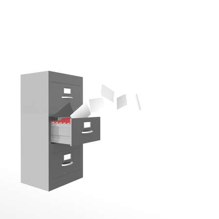 computer simulation: metal box which houses the folder from which fly sheets on a white background. computer Simulation