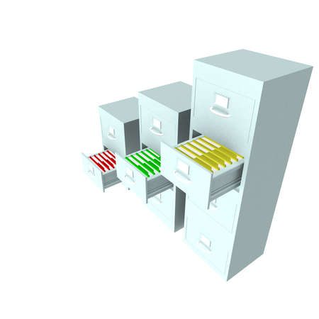 computer simulation: metal boxes which are located in folders on a white background. computer Simulation