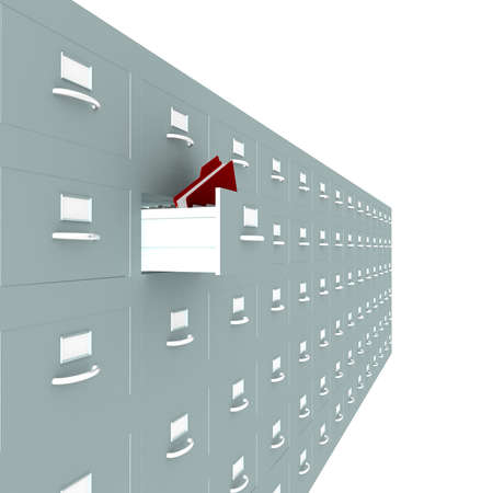 metal boxes one of which opened in the folder are located on a white background. computer Simulation Stock Photo - 12296253