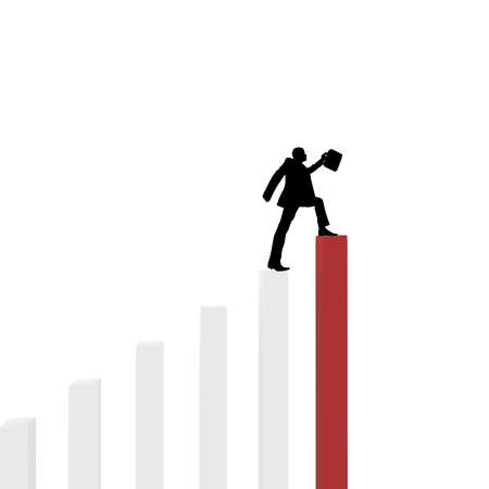 computer simulation: silhouette of a businessman with briefcase in hand rises to the top of the column. computer Simulation