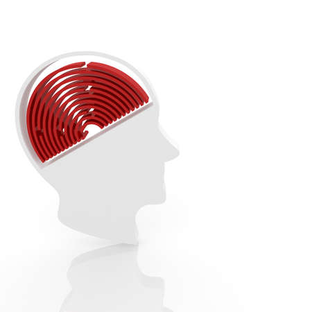 difficult journey: head of a man with a maze instead of the brain. Computer Simulation