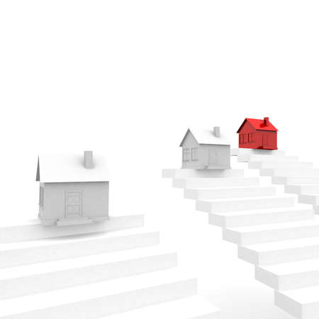 computer simulation: number of houses on top of the steps, one of which is red. computer Simulation Stock Photo