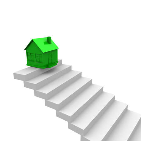 property ladder: green house on top of the stairs. computer generation
