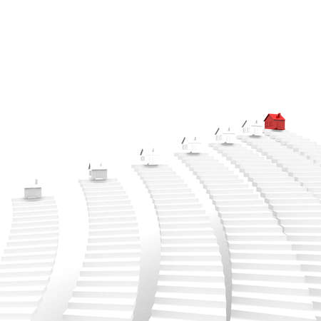 sales floor: number of houses on top of the steps, one of which is red. computer Simulation Stock Photo