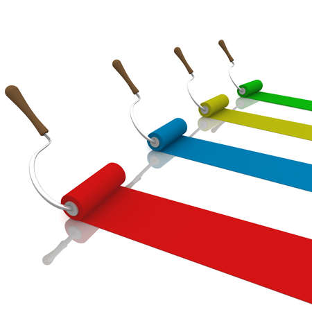 computer simulation: four roller, paint colored stripes. computer Simulation Stock Photo