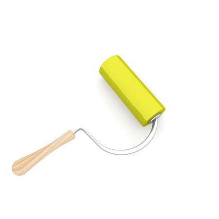 computer simulation: roller to paint the yellow on a white background. computer Simulation Stock Photo
