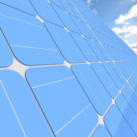 solar panels generate electricity on a clear sunny sky background photo