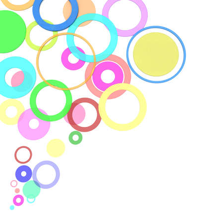 simulation: colored circles on a white background. computer Simulation