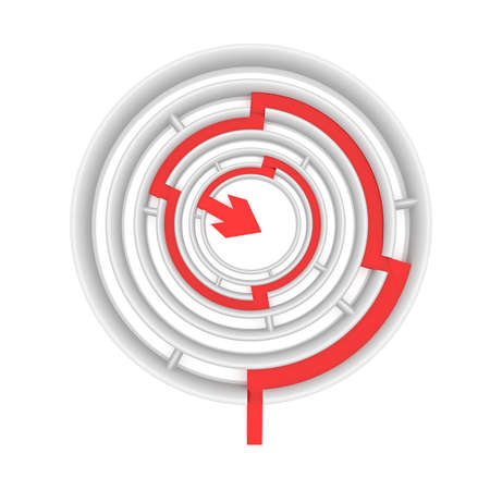 computer simulation: red arrow passes through the passages round the maze. computer Simulation Stock Photo
