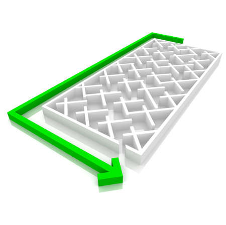 puzzling: green arrow is next to the maze. computer Simulation Stock Photo