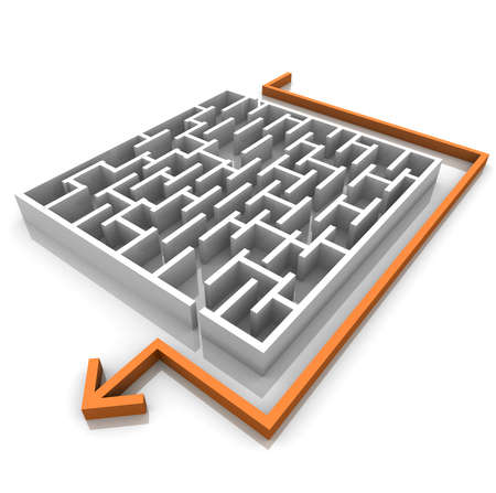difficult journey: orange arrow is next to the maze. computer Simulation