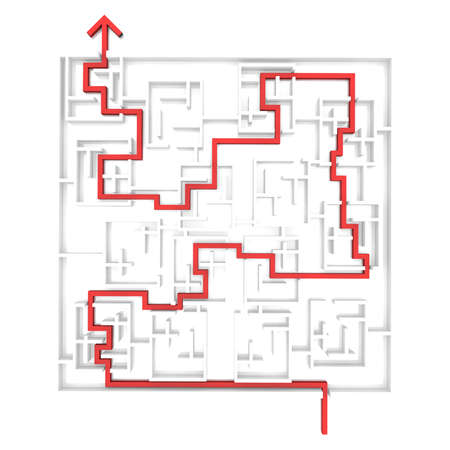 computer simulation: red arrow passes through the labyrinth. computer Simulation Stock Photo
