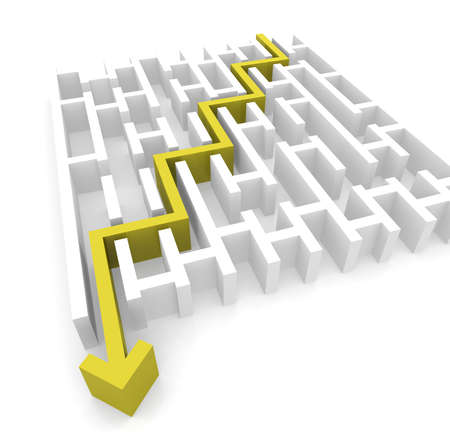 problem solved: yellow arrow passes through the labyrinth. computer Simulation Stock Photo