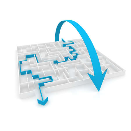 problem solved: an arrow passes through the maze, and the other above it. computer Simulation Stock Photo