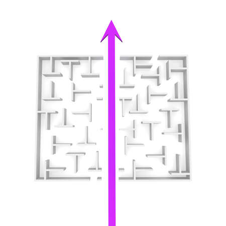 cut through the maze: needle passes through the cut into two parts, a maze. computer Simulation