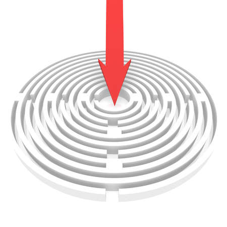 puzzling: arrow points to the center of a circular maze. computer Simulation