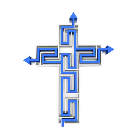 maze in the shape of the cross through which the needle Stock Photo - 12656042